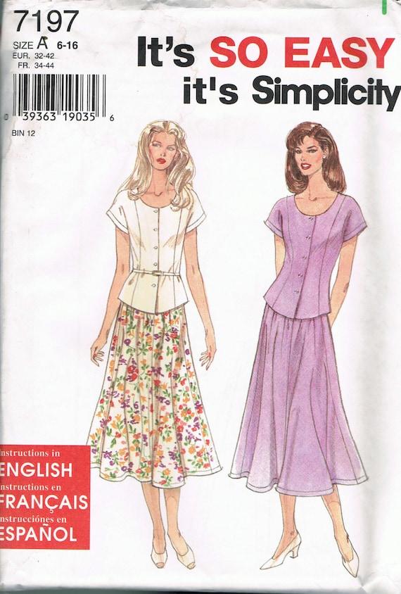 Talla 6-16 falta costura fácil patrón blusa de costura   Etsy