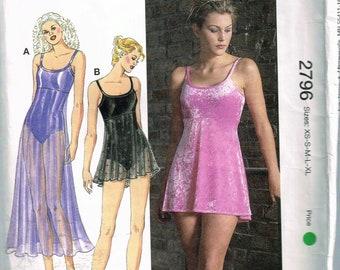 Size XS-XL Misses' Leotard Sewing Pattern - Scoop Neck Empire Waist Sleeveless Dance Leotard With Skirt  - Dancewear - Kwik Sew 2796