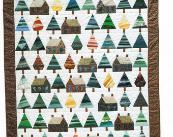 Pine Trees & Log Cabins Quilt Sewing Pattern - Paper Pieced Quilt Pattern - Tree Quilt Pattern