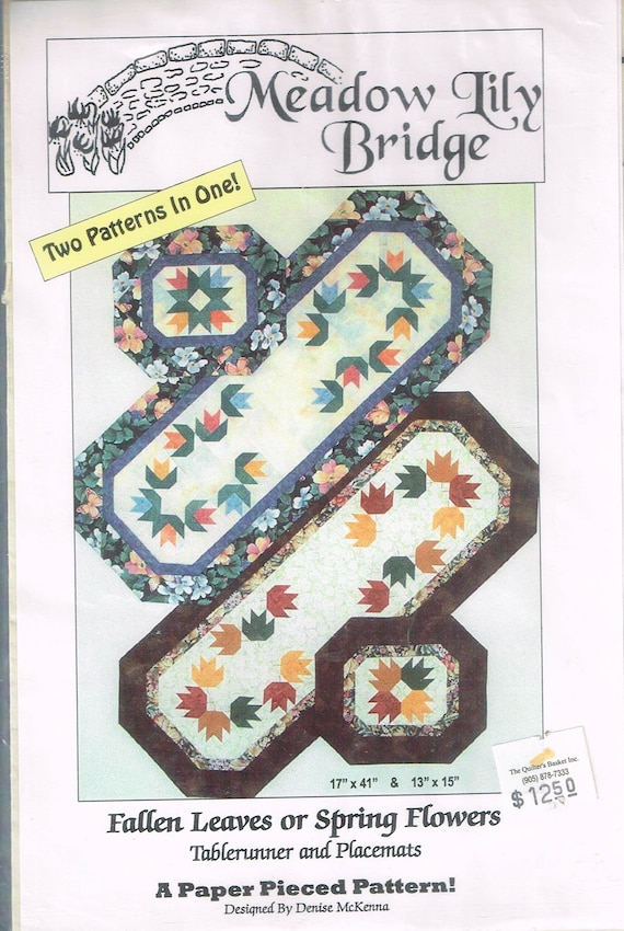 Fallen leaf or spring flower table runner quilt sewing pattern etsy image 0 watchthetrailerfo