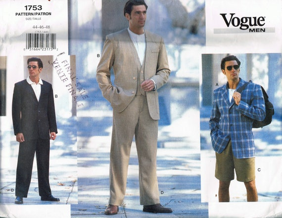 Size 4040 Mens 40 Piece Suit Sewing Pattern Mens Vest Etsy Stunning Mens Suit Sewing Patterns