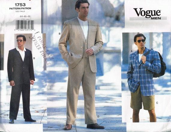 Size 44-48 Mens 3 Piece Suit Sewing Pattern Mens Vest | Etsy