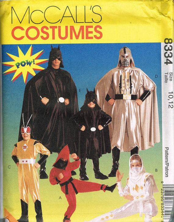 Größe 10-12 Kind Ninja oder Superhelden-Kostüm-Muster Batman