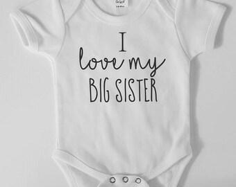 2b74576de Big Sister Bodysuit, Baby Brother, Baby Sister, Big Brother, I Love My Big  Sister, I love my Big Brother, Sibling Shirts, Sibling Bodysuit