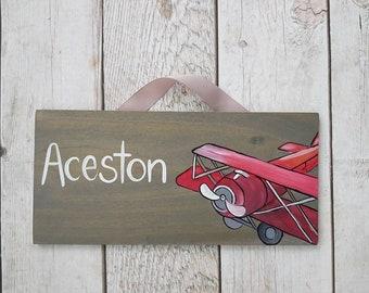 custom locomotive cars airplane theme door sign colorful bedroom nursery wall plaque P259