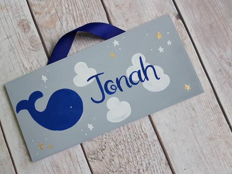 Personalized whale name sign whale and stars room decor whale child/'s door sign