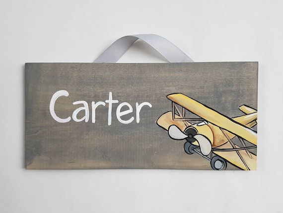 Vintage Airplane Room Decor/ Vintage Airplane Name Sign/ Travel Themed  Bedroom/ Child\'s Door Sign