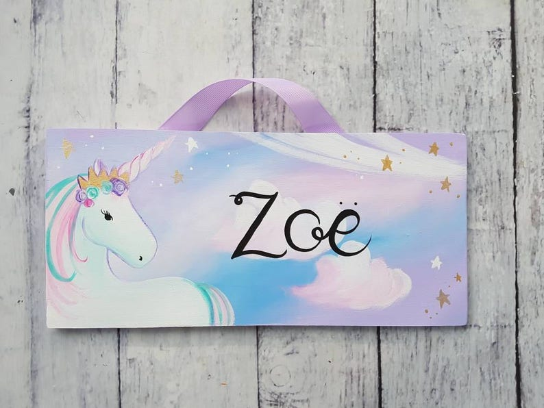 Unicorn Name Sign with Pastel cotton candy sky/ Child's image 0