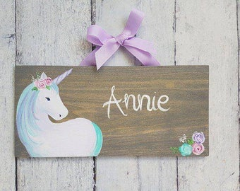 Unicorn With Floral Crown on Stained Wood Name Sign/ Child's Door Sign/ unicorn Room Decor/ Name Plaque/ Door Plaque