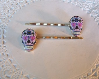 Green and White Skull Hair SticksGothicHalloweenHairSugar Skull