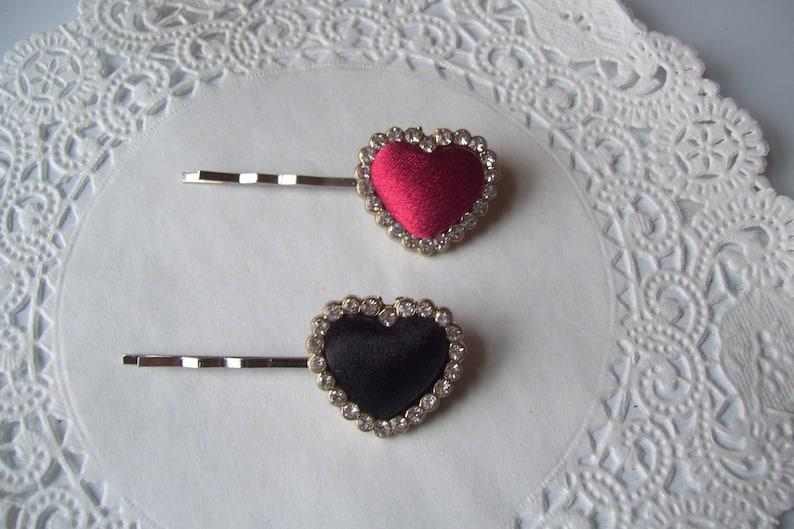 Valentine hair pin  hair accessories Heart Hair Pin Red Heart hair pin Rhinestone hair pin Black Heart hair pin repurposed jewelry