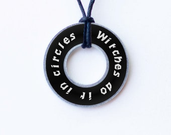 Witches Do It In Circles Resin Coated Washer Necklace Wiccan Pagan