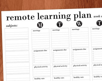Remote Learning Printable Planner for Middle School / High School