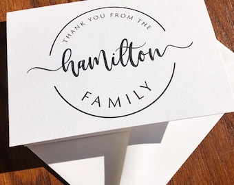 Personalized Family Thank You Card Pack with Circle