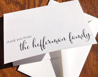 Personalized Family Thank You Card Pack with Script Family Name