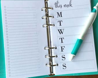 On Top of It Personal Horizontal Week on one page with checklist printed planner inserts, personal WO1P