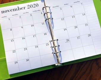 A5 Planner Inserts Monthly | 2021 or 2022 planner Printed A5 monthly planner inserts, month on two pages