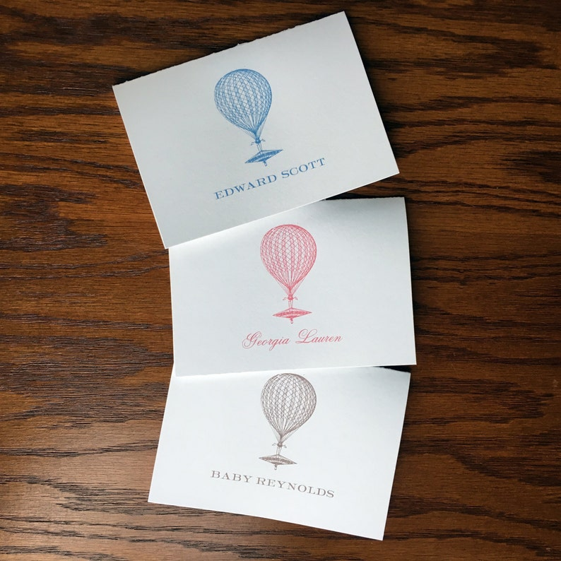 Hot Air Balloon Folded Baby Thank You Cards For Travel Themed