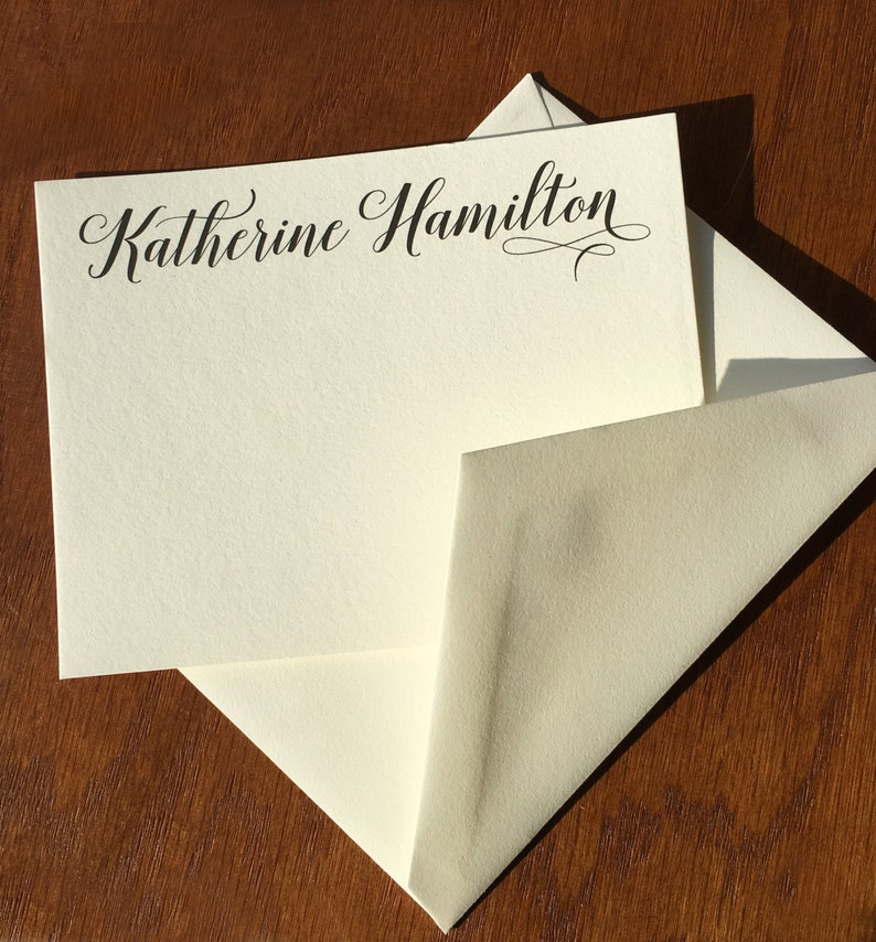 100/% Cotton Graceful Name Stationery Set of Correspondence Cards