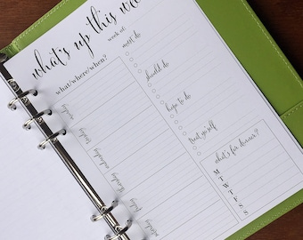 On Top of It Weekly Docket A5 Planner Inserts, Weekly Agenda with To Do List, A5 Printed Weekly Planner Pages