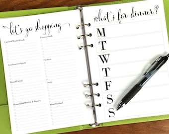 """On Top of It """"What's for Dinner?"""" A5 Meal Planner Inserts, Meal Planner & Grocery List Planner Inserts, A5 Shopping List Printed Planner"""