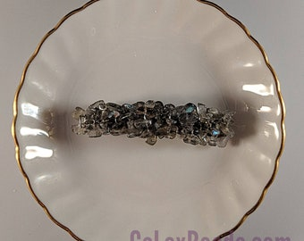 Labradorite Blue Flash small 2 inch barrette hair accessory in smoky grey with flashes of blue by CaLexBeads and Jewelry