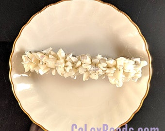 White Trochius medium 3 inch barrette hair accessory in pearly whites by CaLexBeads and Jewelry