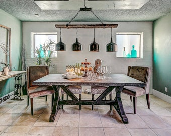 4 Funnel Chandelier with Barnwood Beam and Iron Brackets