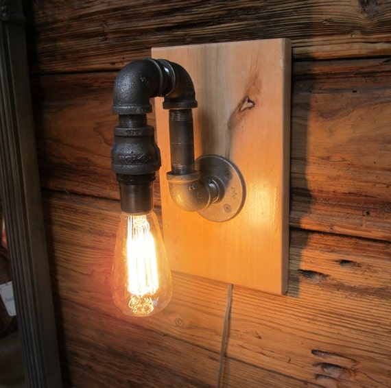 Items Similar To Galvanized Light Rustic Industrial: Items Similar To Black Pipe & Maple Wood Sconce On Etsy