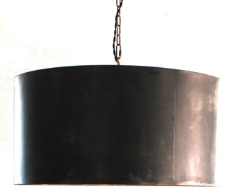 """LARGE 30"""" Handcrafted Drum Pendant Light with Aged Zinc or Black Steel Finish"""