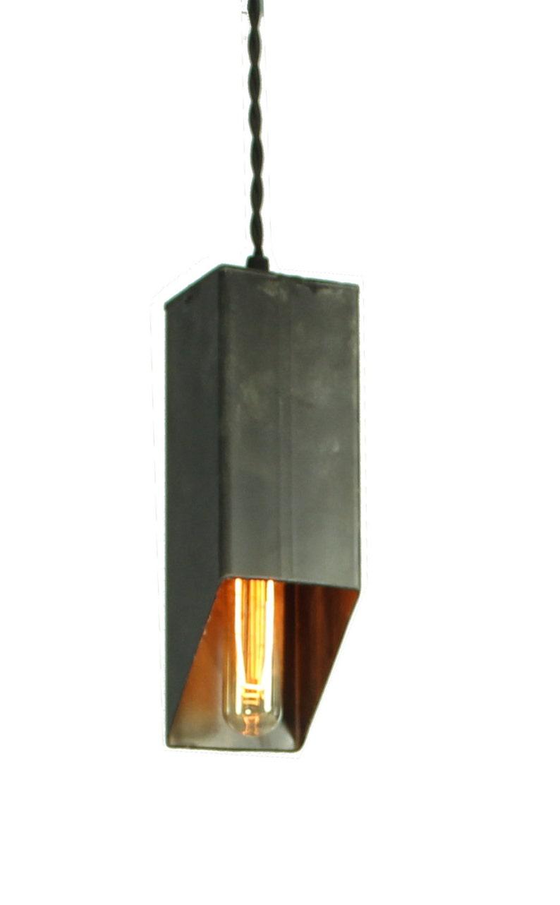 Cut Beam Pendant Light in Black Steel Finish image 0