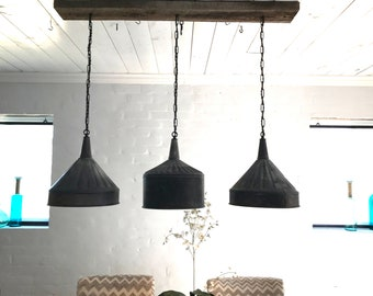 funnel lamp 3 aged Zinc Funnel Chandelier with flush mount  Barnwood Beam Rustic Tin funnels FREE SHIPPING