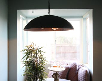 Giant black steel dome pendant light