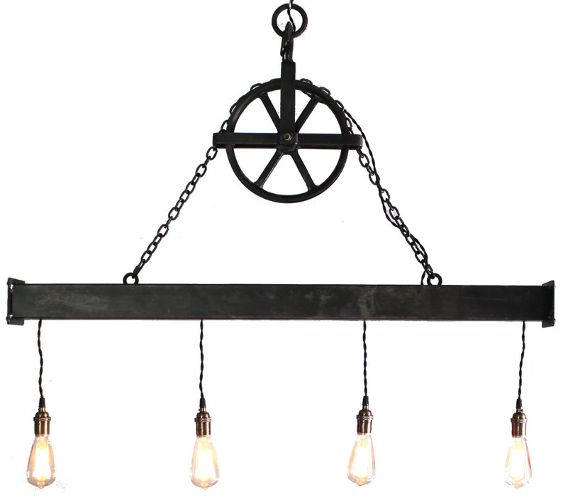 Handcrafted 4 light Steel Beam Chandelier with Aged Pulley image 0