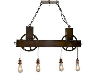 4 Light Dual Pulley Chandelier black Steel Wheels : FREE SHIPPING Rustic Chandelier Lighting  Steel chandelier  Dining chandelier