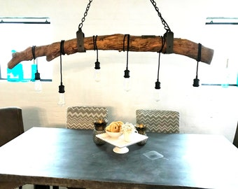 6 light  log wrap with Iron accents. FREE SHIP  Wood Light Fixture, Beam Light, Edison Light Fixture, Barnwood Lighting chandelier