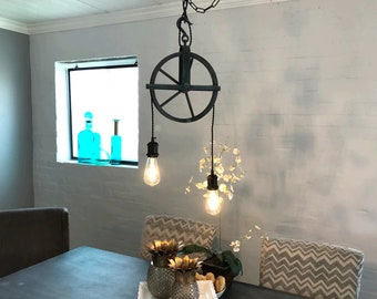 Aged Zinc Well Pulley Pendant  2 Light  FREE SHIPPING bulbs INCLUDED kitchen pendant dining room light