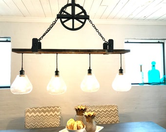 Custom 3 light version for Nicole Chandelier with hanging pulley and Iron Brackets FREE SHIPPING Edison bulbs Included