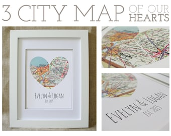 Three City Framed Map of Our Hearts - Personalized Art Piece  - Makes a wonderful wedding, anniversary, engagement or housewarming gift!