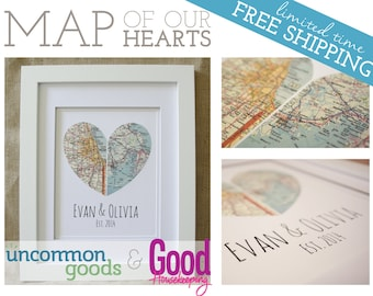 Framed Map of Our Hearts - Personalized Art Piece  - Makes a wonderful wedding, anniversary, engagement or housewarming gift!
