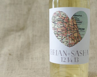 """Square Map of Our Hearts-Personalized Wine Labels (4"""") Free Shipping"""