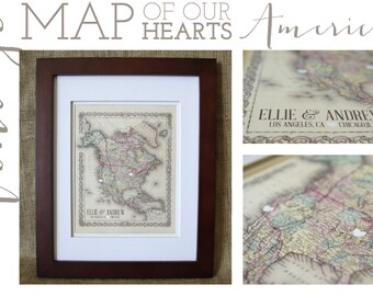 Framed Vintage Map of Our Hearts North America-Personalized Map Art -Makes a wonderful wedding, anniversary, engagement or housewarming gift