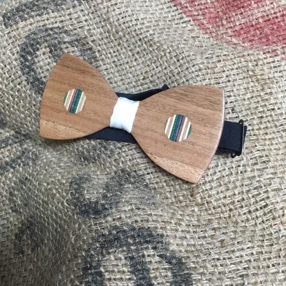 Bow tie, mahogany & recycled skateboard
