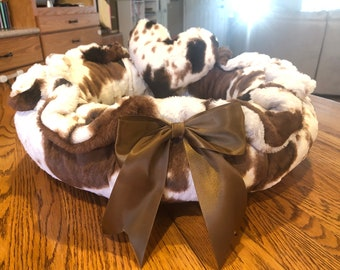 PAINT PONY.2: Soft  cuddle minky in ivory & brown pony print.