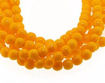 Sunflower Deep Yellow Opaque 4mm Round Czech Glass Beads x 100