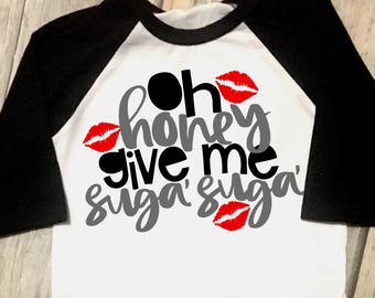 Oh Honey, Give Me Sugar, Sweet Boys Valentines Day, Toddler, Youth Valentine's Day, Raglan Tee Shirt, Cute Valentines Day Shirt