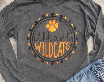 b47f5170 Elkhart Wildcats, Customizable Team Pride, Wildcat Pride, Team Name, Custom  Team Mascot, Custom Team Shirt, School Spirit, School Pride