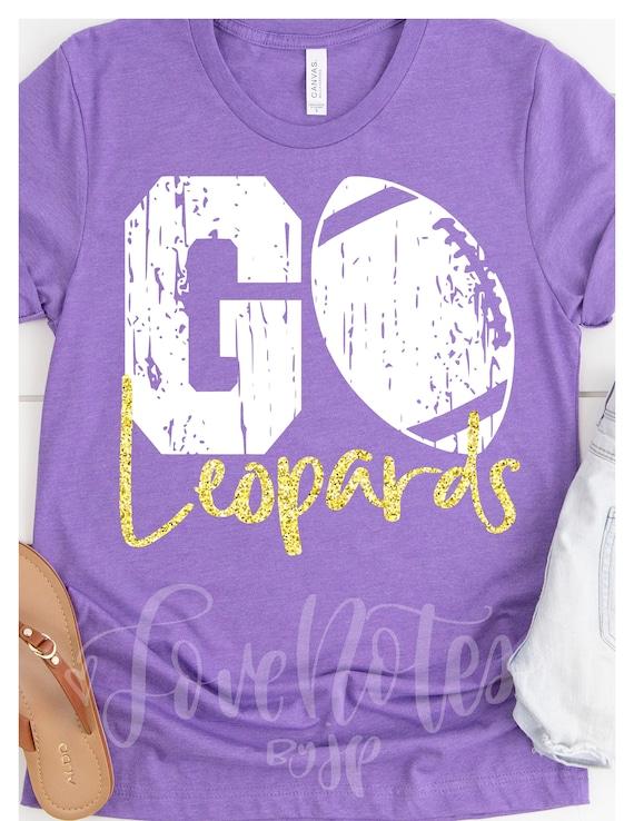 GO Mascot, Football Team Spirit, Go Leopards, Purple and Yellow Gold  Glitter, School Colors, School Team Spirit Tee Shirt Custom Team Name