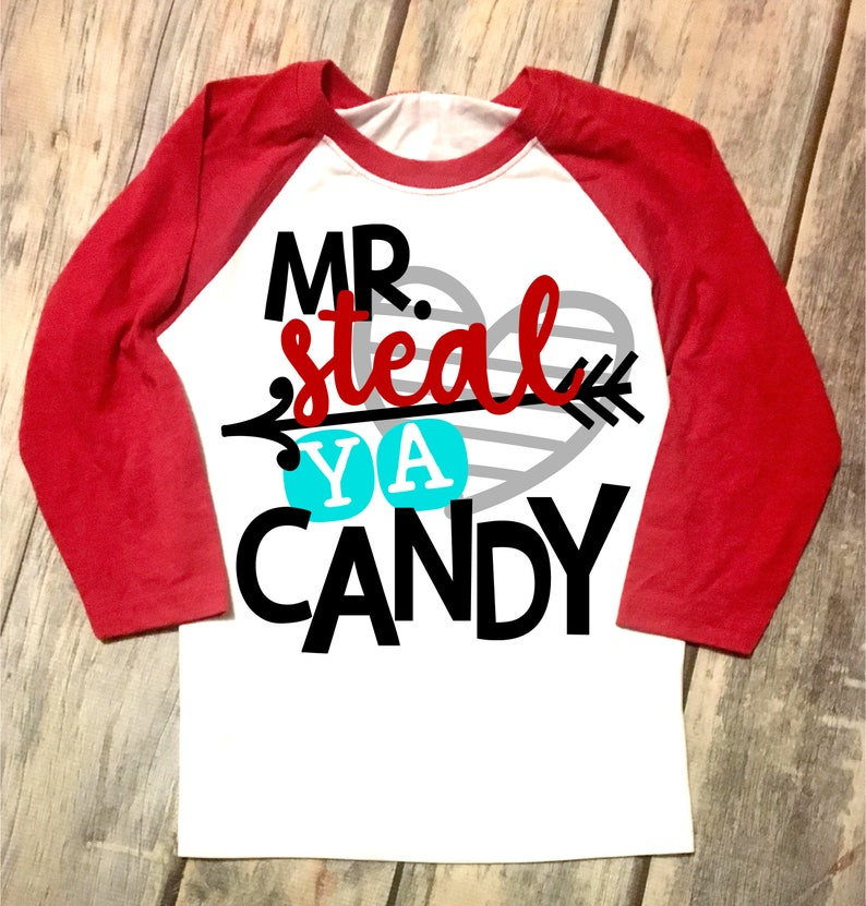 aca7ecceb Mister Steal Ya Candy Boys Valentines Day Toddler Raglan | Etsy