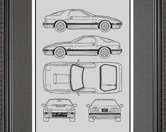 Mazda rx7 art etsy mazda rx 7 blueprint framed art car auto gift choose your model bmzda malvernweather Gallery
